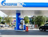 ASTRAKHAN  RUSSIA -August 16, 2014 illustrative editorial photo of petrol station with GAZPROM Compa