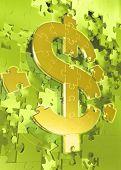 Dollar Symbol Puzzle 3D