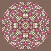 Ornamental round lace pattern, circle background with many details