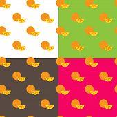 Vector Flat Orange Fruits Seamless Pattern