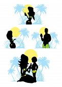 Family Summer Beach Silhouette Emblem Vacation Icons Set Sun Health Care