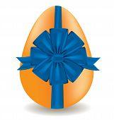 egg with a blue bow, vector