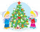 Children and Christmas tree