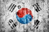 South Korea Flag On A Weathered Grunge Background