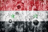 Syria Flag On A Weathered Grunge Background