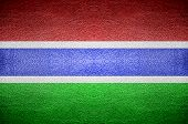 Closeup Screen Gambia Flag Concept On Pvc Leather For Background