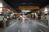 Long Underground Walkway At A Subway Station