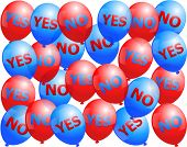 picture of budge  - Balloons that are labeled with YES and NO - JPG