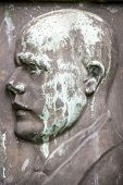 Old Weathered Bronze Portrait Of A Man.