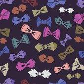 Bow tie seamless pattern.Cool colors.Vector