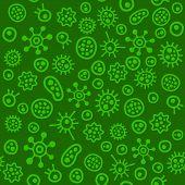 Bacteria Virus Microbe. Seamless Pattern. Vector