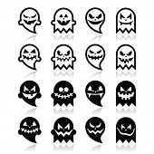 Halloween scary ghost vector black icons set