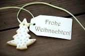 Christmas Label With Frohe Weihnachten