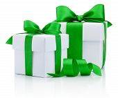 Two White Boxs Tied Green Ribbon Bow Isolated On White Background