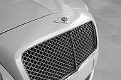 Close up picture of front Bentley car