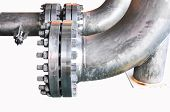 Metal pipe flanges with bolts on an isolated background, Pipe line in oil and gas industry