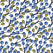 Watercolor Blueberries branches seamless pattern
