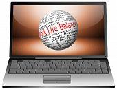 Laptop with Work Life Balance wordcloud