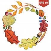 Vector Watercolor autumn Leaves wreath