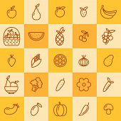 Set Of Icons Of Fruits And Vegetables