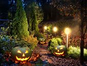 stock photo of illuminating  - Illuminated home garden path patio lights with halloween pumpkin lanterns - JPG