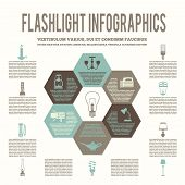 Flashlight and lamps flat infographic