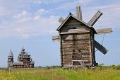 Windmill And Kizhi Pogost In Karelia, Russia