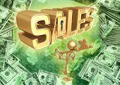 3D Key To Sales Concept