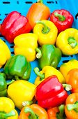 Yellow, Red And Green Peppers In Vegetables Market, Food Background