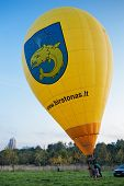 Yellow big flying balloon