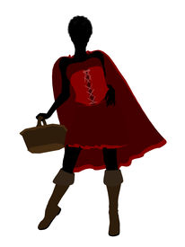 picture of little red riding hood  - Little Red Riding Hood illustration silhouette on a white background - JPG
