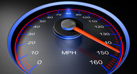 pic of mph  - A regular speedometer with glowing red edges and a red needle pointing towards a high speed on an isolated black background - JPG