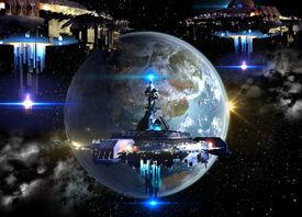 stock photo of spaceships  - Alien spaceship fleet nearing Earth - JPG