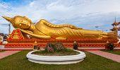 Gold reclining Buddha in Wat Si Saket in Vientiane Laos
