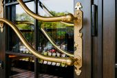 Closeup Of The Modern Luxurious Glass Door Handle