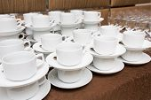 Catering - Rows Of Cups Served For Tea Table