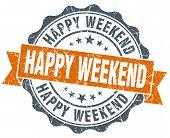 Happy Weekend Vintage Orange Seal Isolated On White