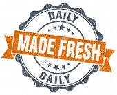 Made Fresh Daily Vintage Orange Seal Isolated On White