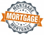 Mortgage Vintage Orange Seal Isolated On White
