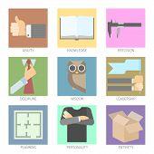 Set of Modern Icons for Flat UI Design Visualisation