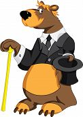 Cheerful bear holding a hat and walking stick