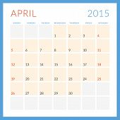 Calendar 2015 Vector Flat Design Template. April. Week Starts Sunday