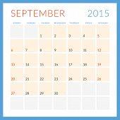 Calendar 2015 Vector Flat Design Template. September. Week Starts Sunday