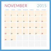 Calendar 2015 vector flat design template. November. Week starts Sunday