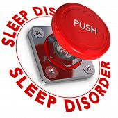 picture of panic  - Sleep disorder word written around a panic button white background somnipathy concept - JPG