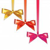 Set of elegant silk color bows.