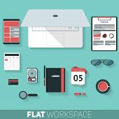 Flat Design Vector Illustration Of Office Workspace. Top View Of Desk Background With Laptop, Office