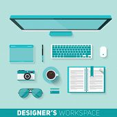 Flat Design Vector Illustration Of Designers Workspace. Top View Of Desk Background With Computer, P