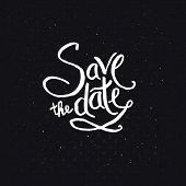 White Texts for Save the Date Concept