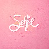 image of stippling  - Simple Text Design for Selfie Concept on Abstract Pink Background - JPG